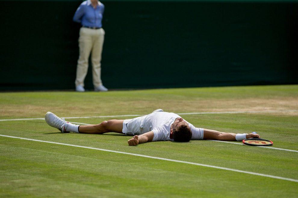 Grigor Dimitrov celebra una victoria en Wimbledon