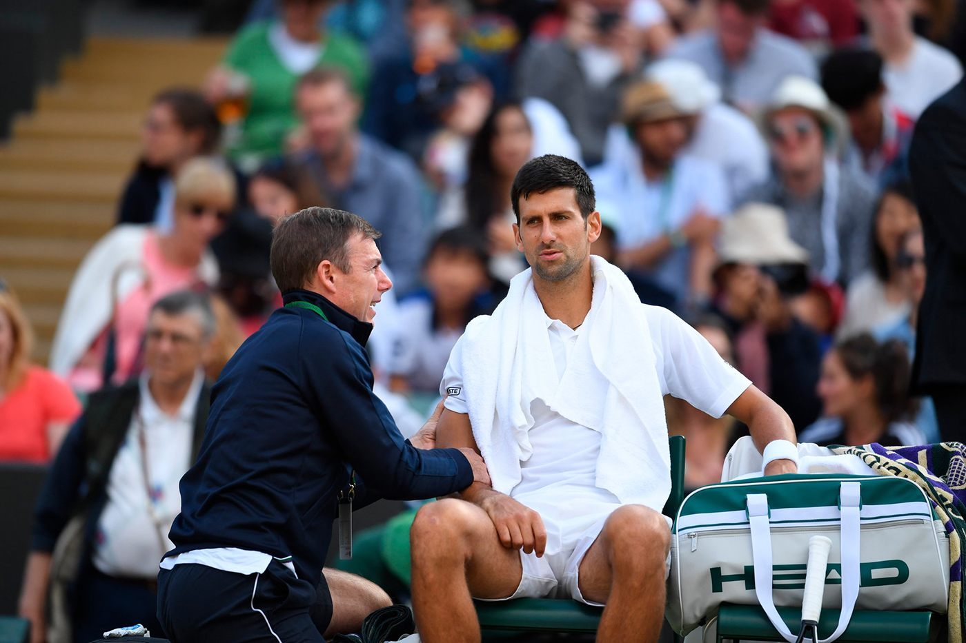 Djokovic antes de retirarse ante Berdych