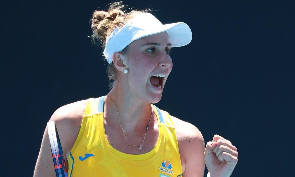 Haddad Maia celebra un punto con Brasil en la Fed Cup
