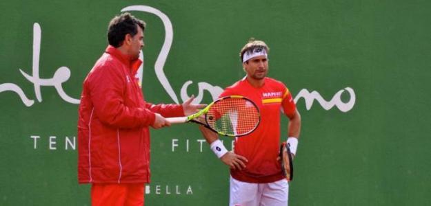 Sergi Bruguera y David Ferrer entrenando en Puente Romano