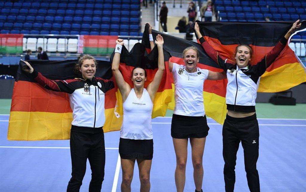 Las jugadoras alemanas celebran el pase a semifinales de la Fed Cup