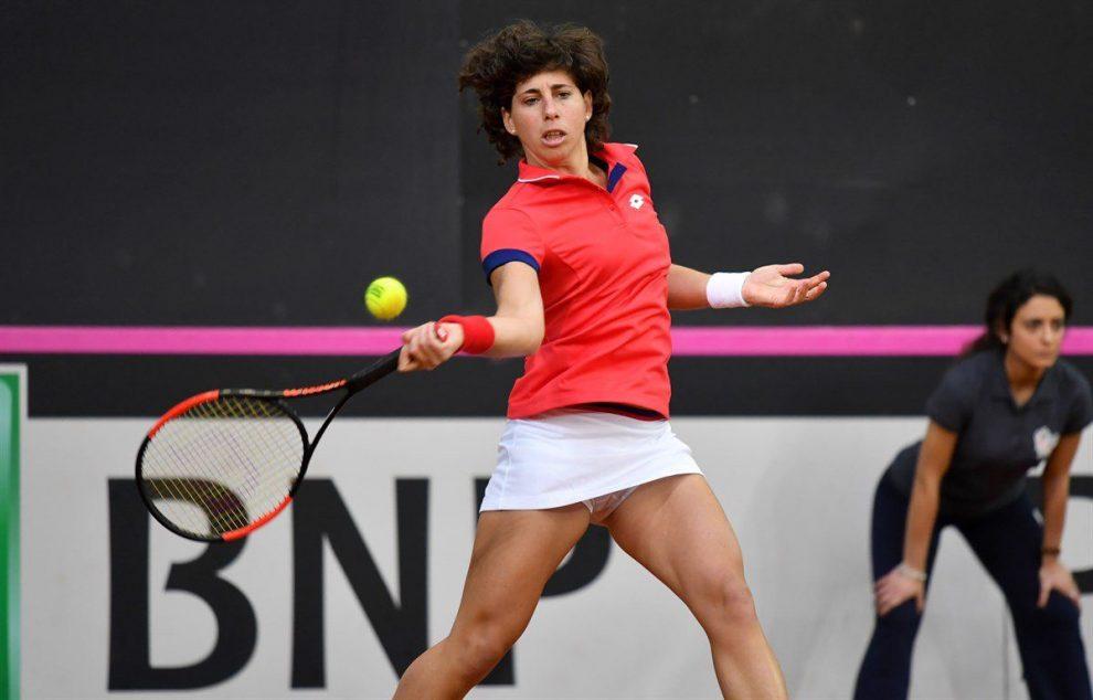 Carla Suárez jugando con España la Fed Cup