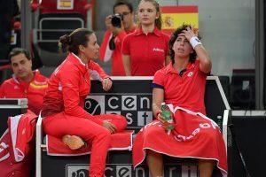 Carla Suárez con Anabel Medina en la Fed Cup