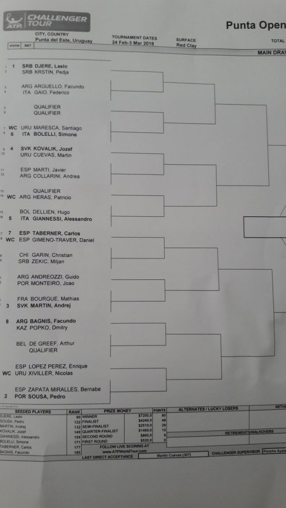 Cuadro Challenger Punta Open 2018