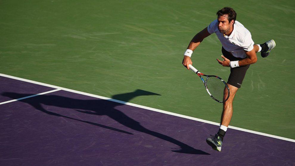 Chardy sacando en el Miami Open