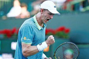 Kevin Anderson festeja un punto en Indian Wells