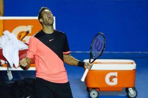 Del Potro celebra el triunfo en el ATP de Acapulco