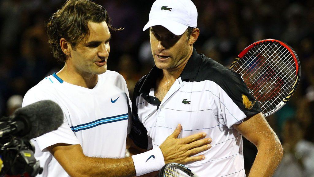 Federer y Roddick tras un partido en el Miami Open