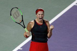 Jelena Ostapenko celebra el pase a la final del Miami Open