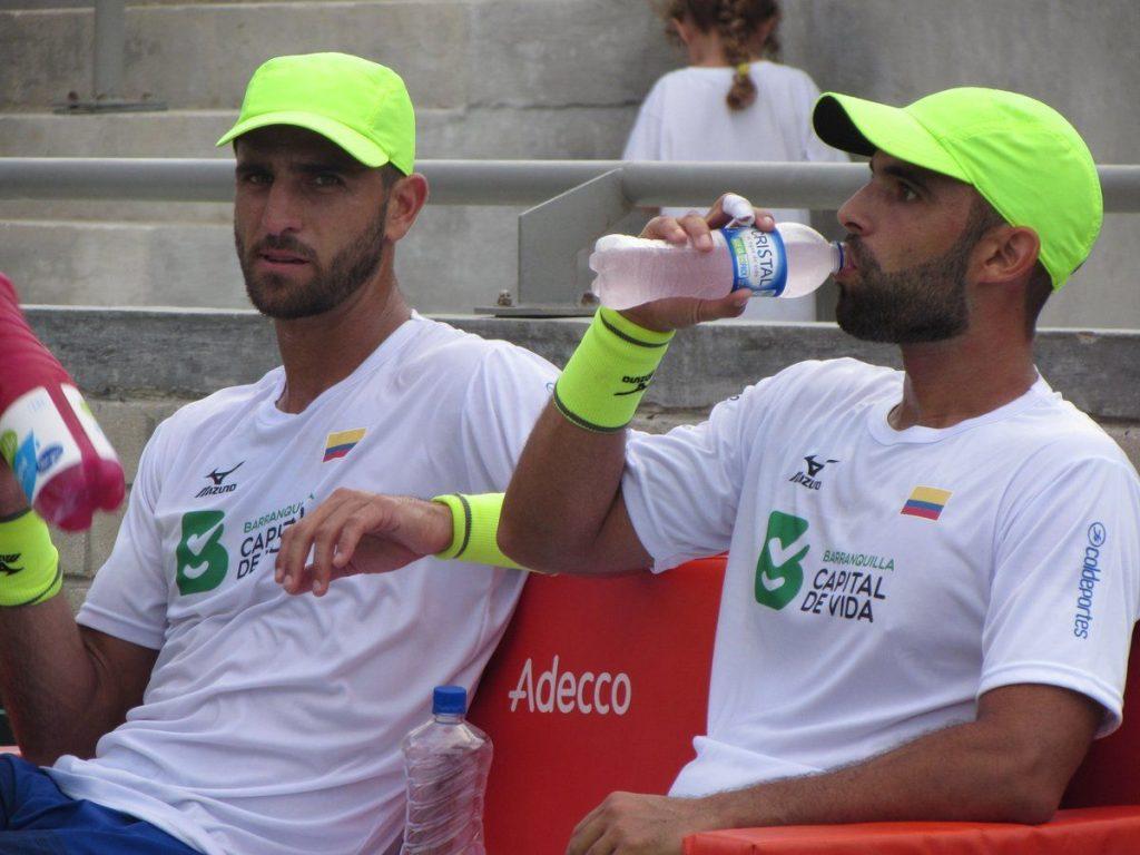 Cabal y Farah entrenando antes del duelo contra Brasil en Copa Davis