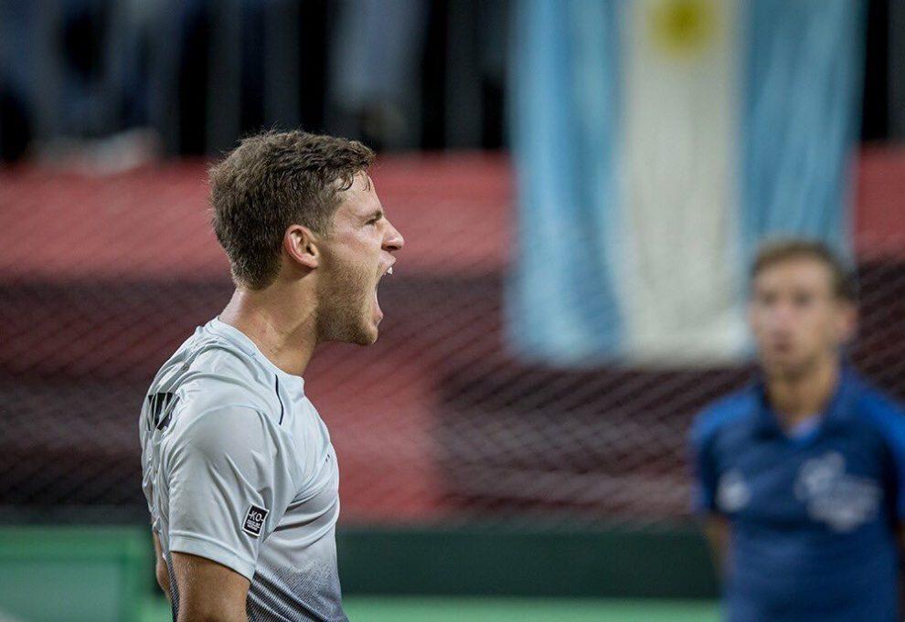 Diego Schwartzman celebra el triunfo ante Nicolás Jarry en Copa Davis