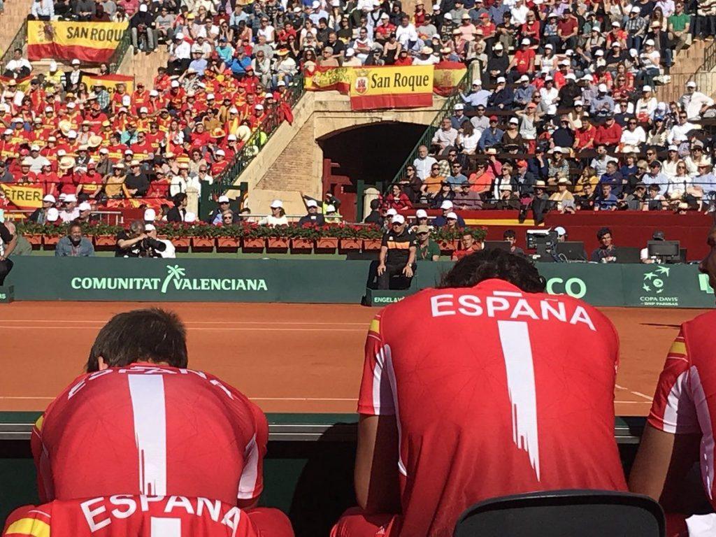 Los jugadores de España durante la Copa Davis ante Alemania