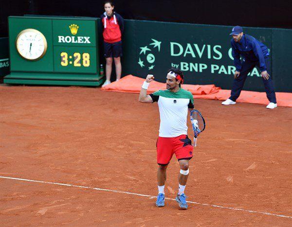 Fognini celebra la victoria en la Copa Davis ante Francia