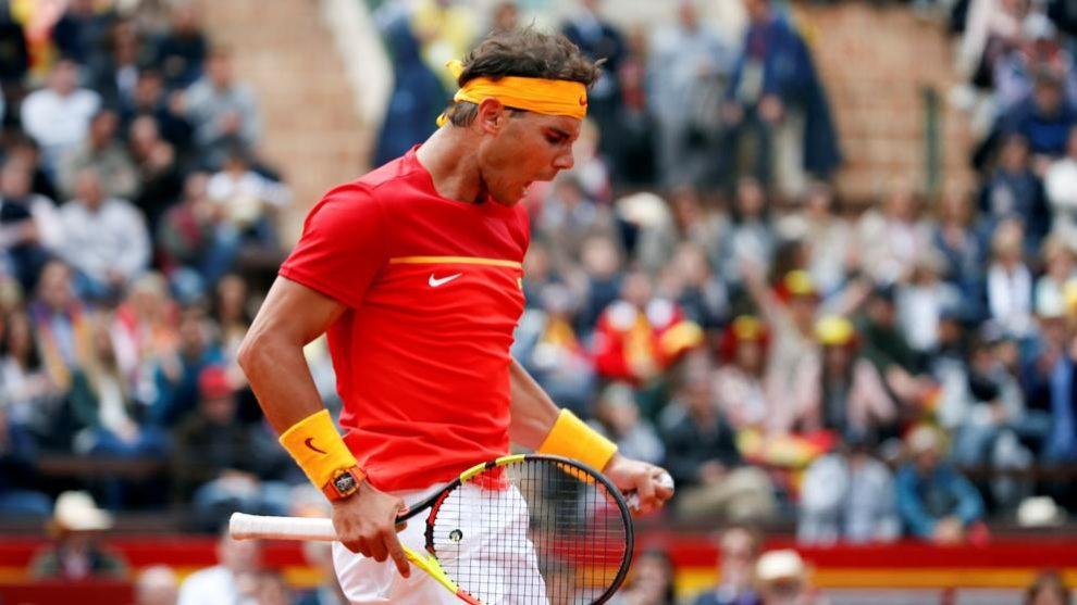 Nadal celebra un punto en la Copa Davis frente a Alemania