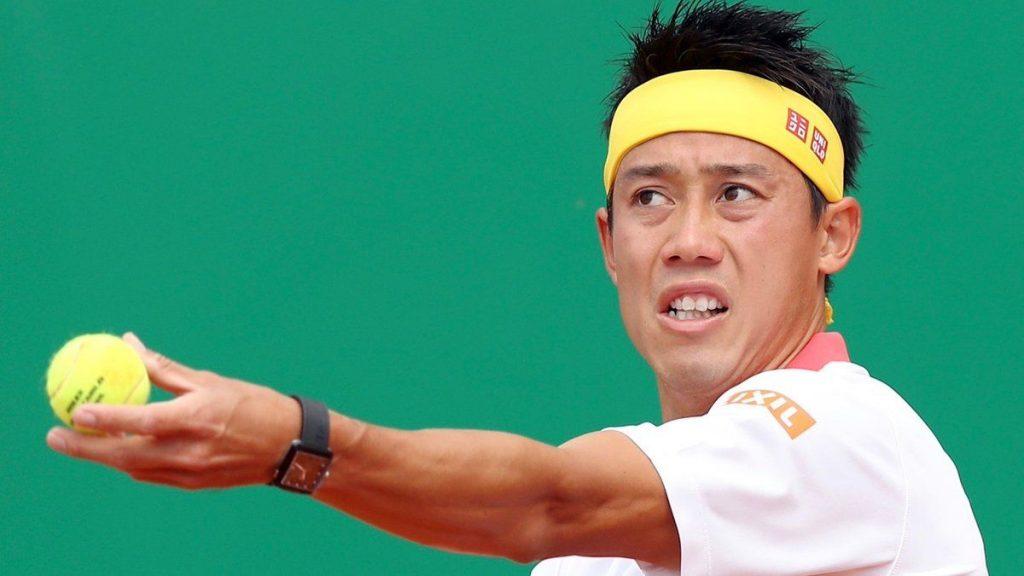 Nishikori jugando un partido en el Masters 1000 de Montecarlo