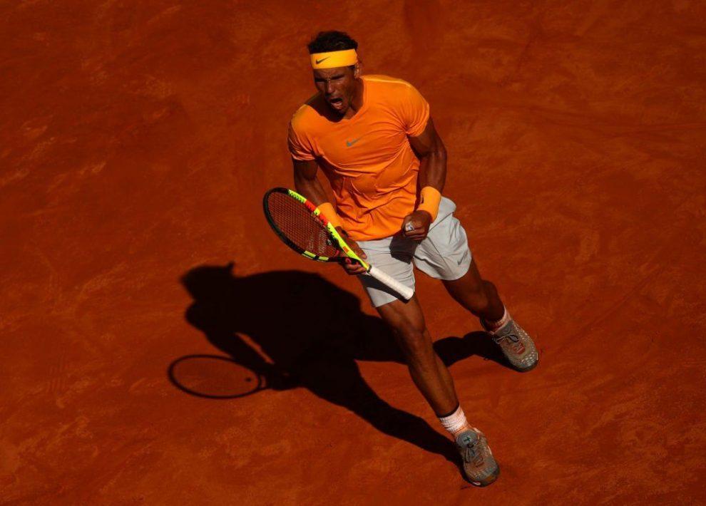 Nadal celebra un punto en la final del Masters 1000 de Roma