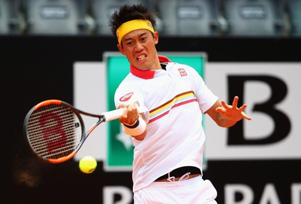Nishikori golpea una derecha en el Masters 1000 de Roma