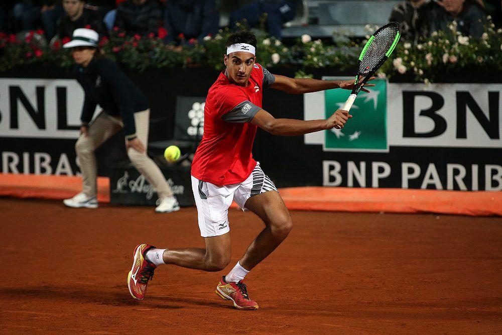 Sonego en el partido en el Masters 1000 de Roma