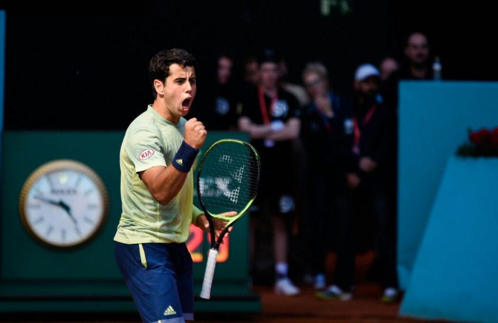 Munar celebra un punto en el Mutua Madrid Open