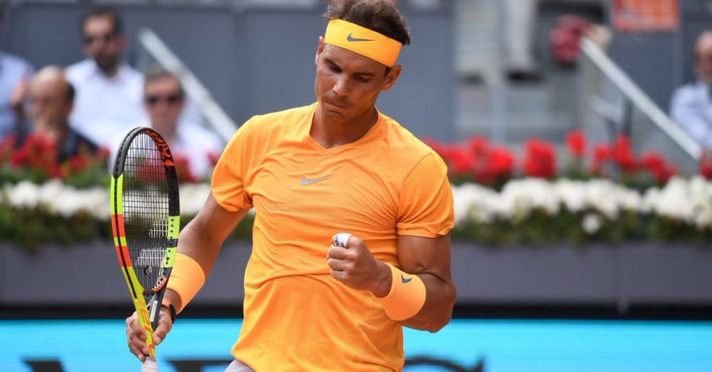 Nadal celebra un punto en el Mutua Madrid Open