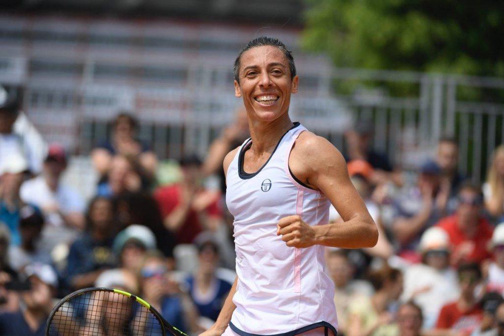 Schiavone celebra la victoria en la previa de Roland Garros