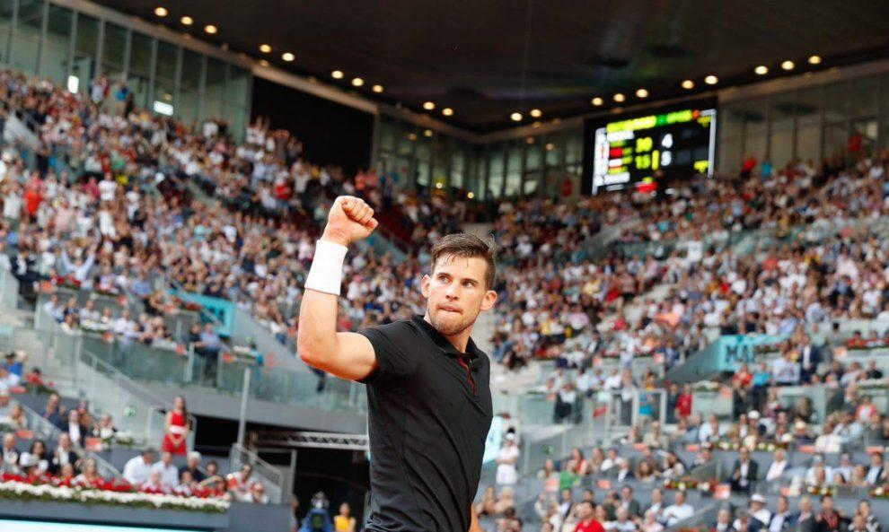 Thiem celebra la victoria ante Nadal en el Mutua Madrid Open