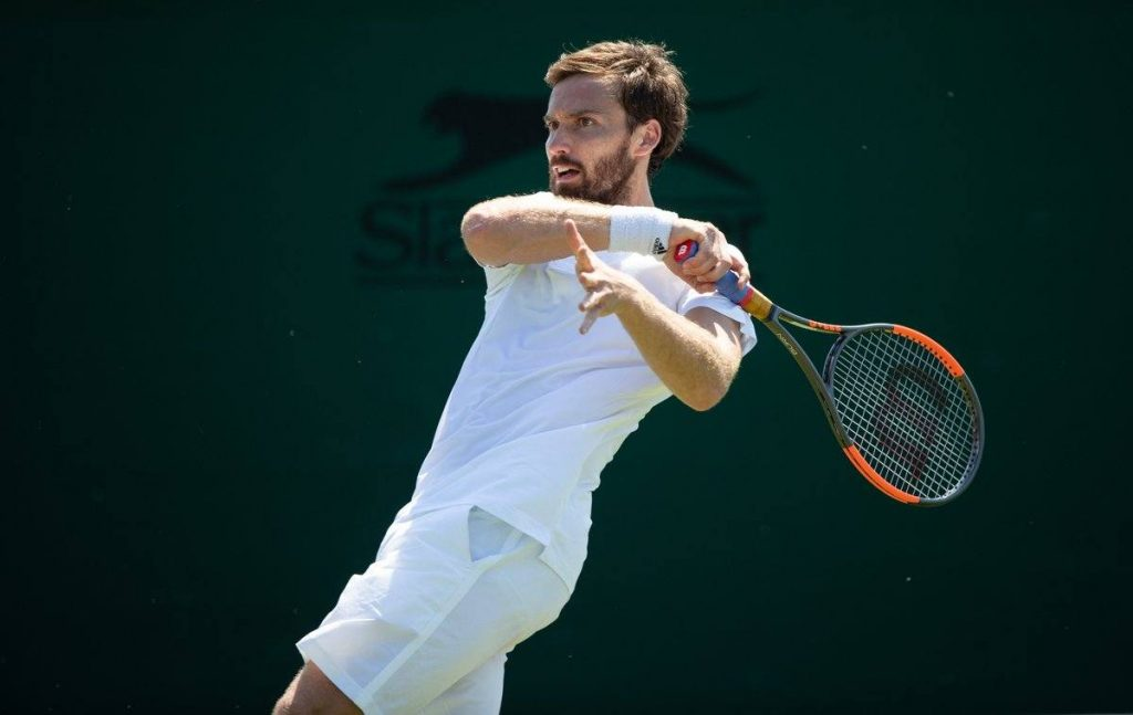 Gulbis durante la fase previa de Wimbledon