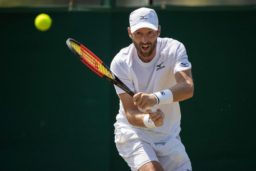 Stephane Robert jugando la fase previa de Wimbledon