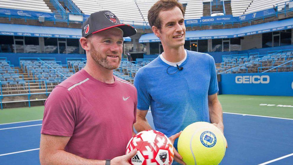 Andy Murray y el legendario futbolista Wayne Rooney en el prólogo de del ATP de Washington ! Foto: atpworltour.com