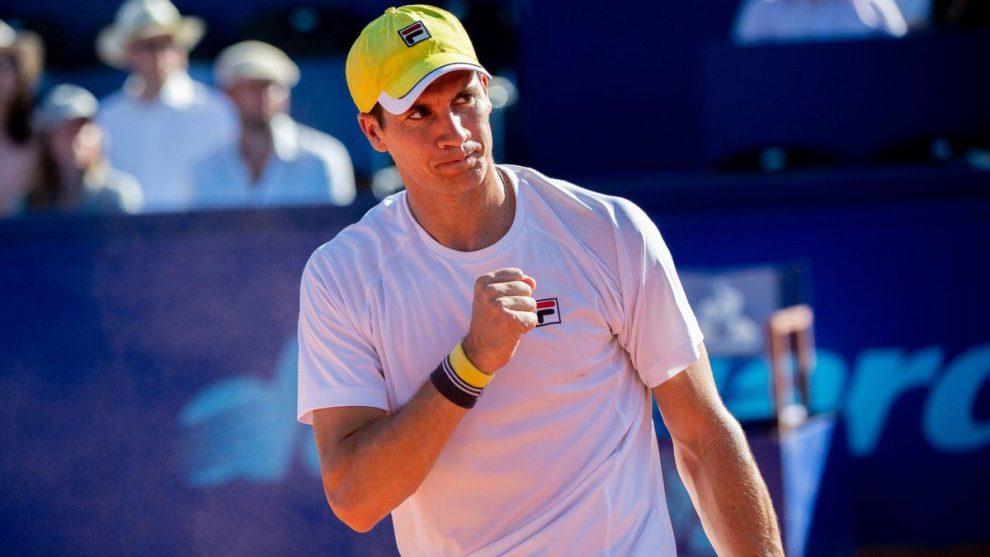 Facundo Bagnis celebra un punto en el ATP de Gstaad