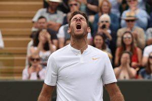Del Potro celebra con rabia su pase a cuartos de final en Wimbledon 2018