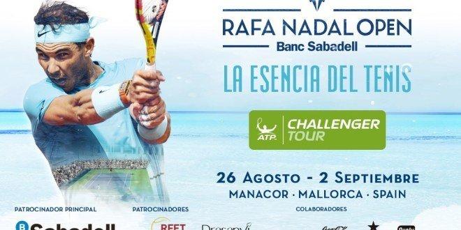 Cartel del torneo Challenger en la Rafa Nadal Academy