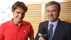 Javi Frana reporteando a Roger Federer! Foto: @javifranatenis