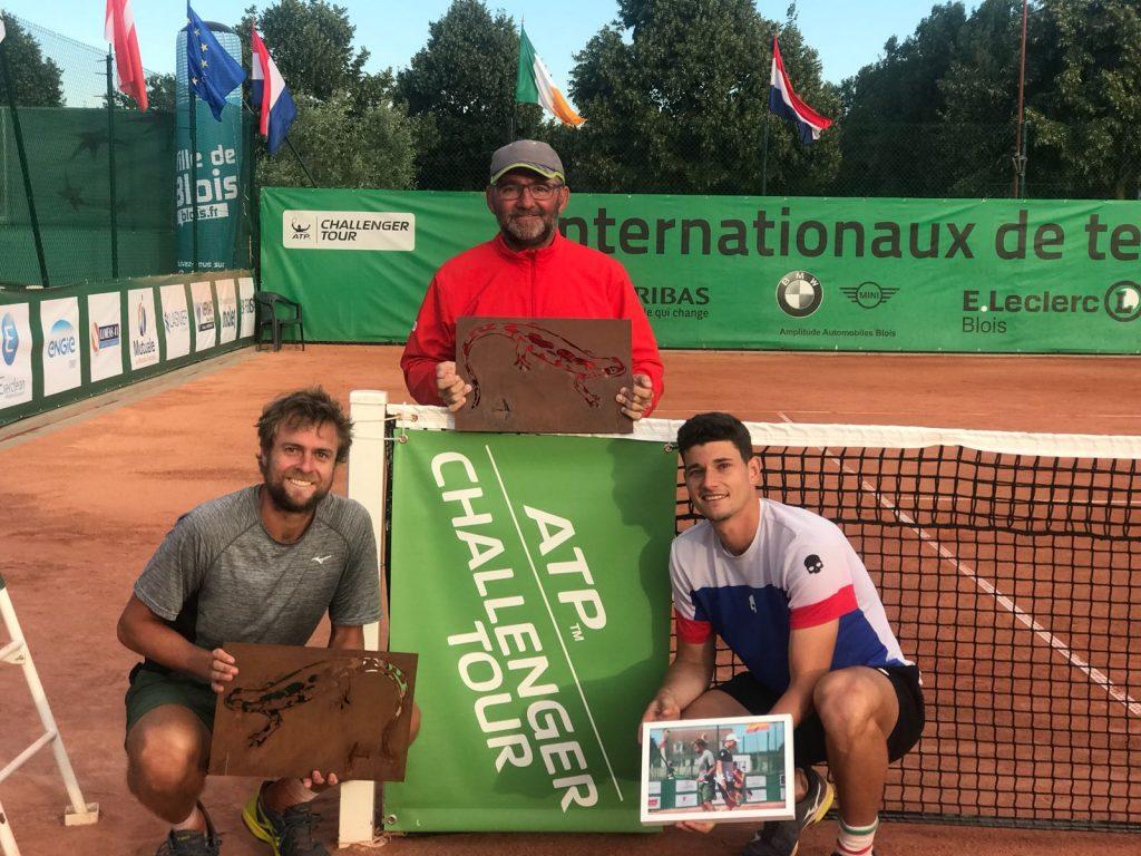 David Vega Hernandez con Fabricio Neis y Quino Colom con el Challenger de Blois