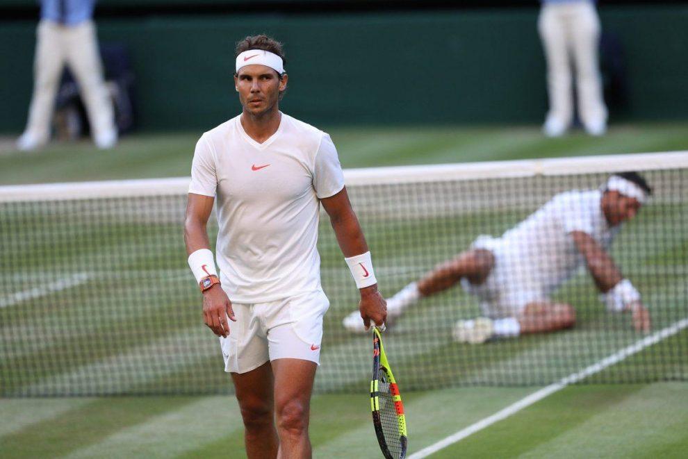 Nadal y Del Potro en su partido de cuartos de final de Wimbledon 2018