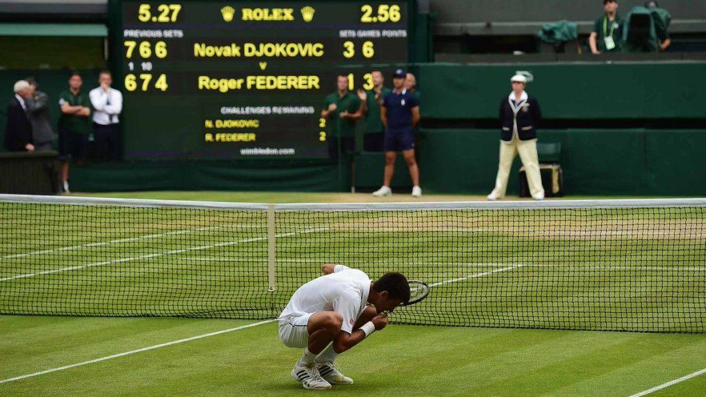 Djokovic en la final de Wimbledon 2015