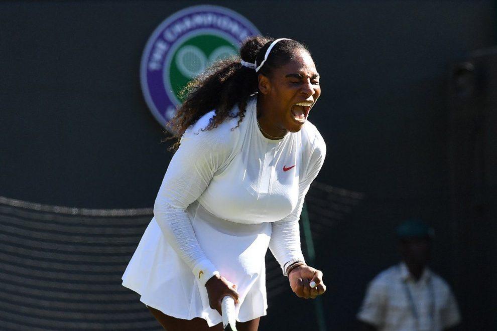 Serena Williams celebra una victoria en Wimbledon 2018