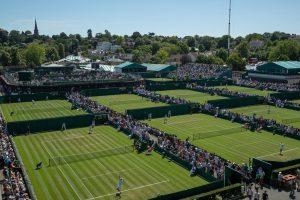Instalaciones de Wimbledon durante un día de competición