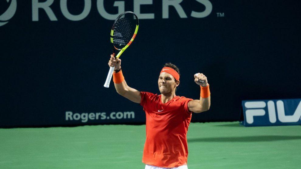 Rafael Nadal celebra una victoria en Cincinnati