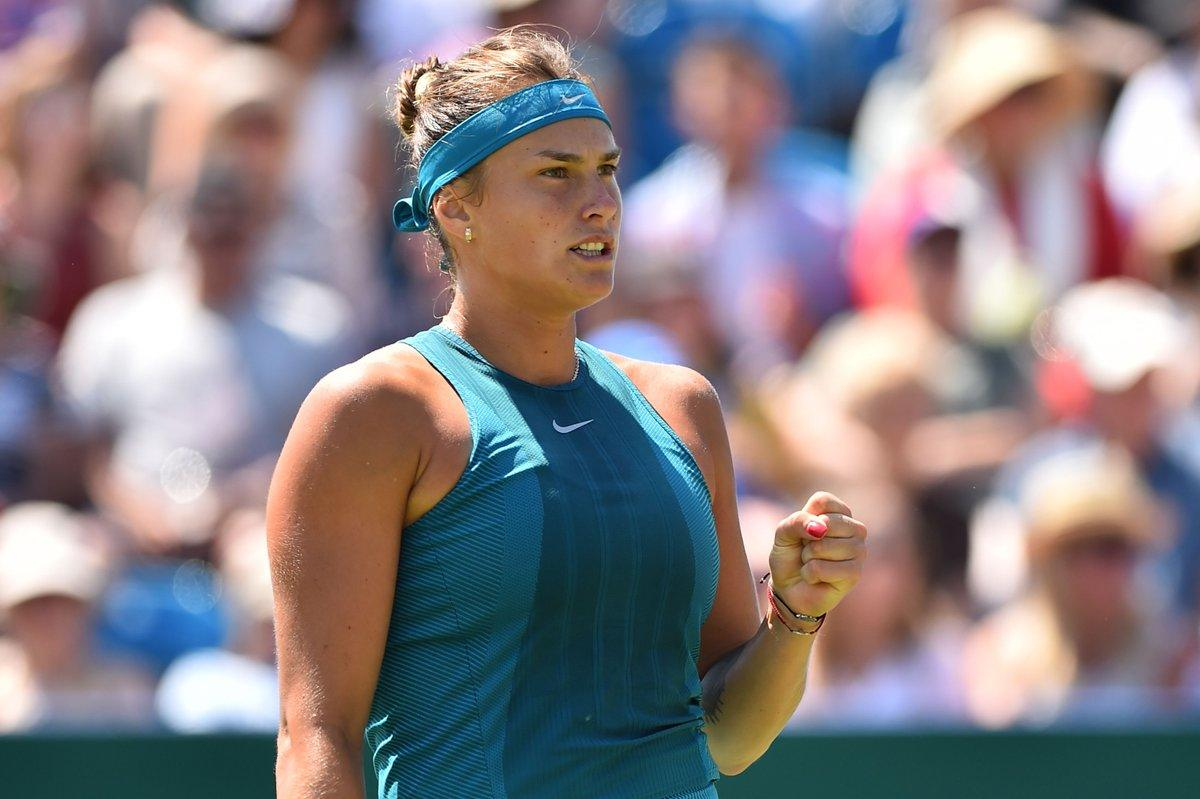 Aryna Sabalenka festeja su pase a la segunda ronda ! Foto: @WTA