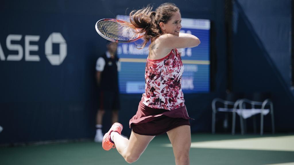 Schnyder jugando la fase previa en el US Open 2018