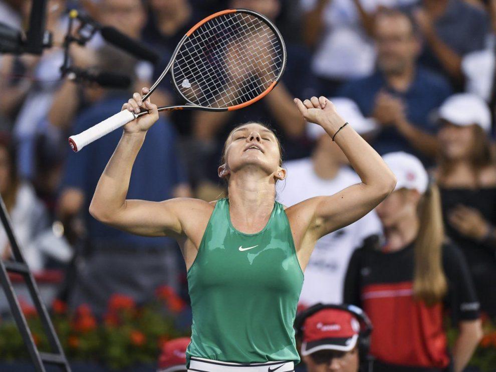 Simona Halep celebra el triunfo en el Premier Mandatory 5 de Montreal
