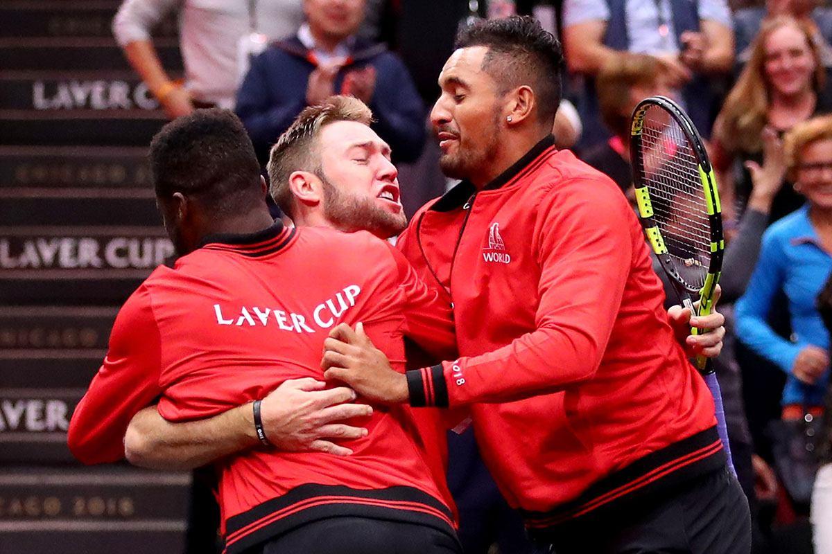 Jugadores del Resto del Mundo celebran un triunfo de Sock en la Laver Cup