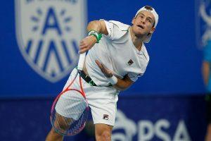 Schwartzman sacando en el ATP de Amberes