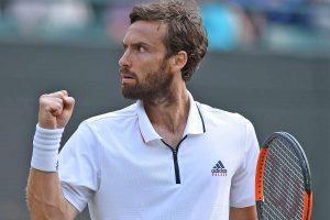 Gulbis celebra una victoria en un torneo ATP