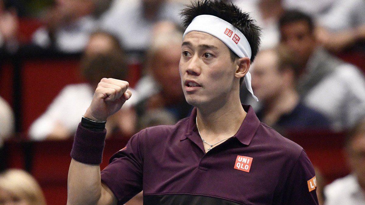Nishikori celebra el pase a la final en el ATP de Viena