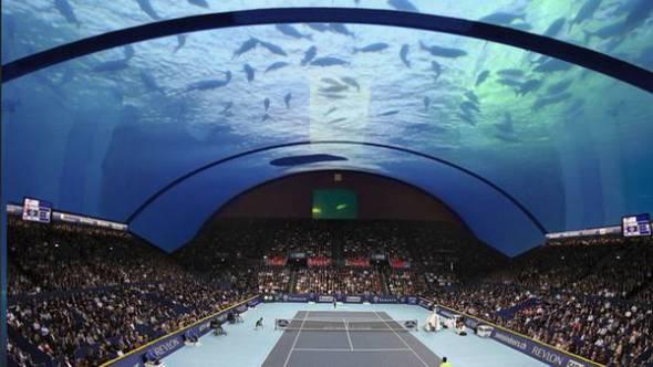 Cancha de tenis bajo el agua en Dubai