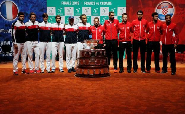 Los equipos de Francia y Croacia en el sorteo de la final de la Copa Davis