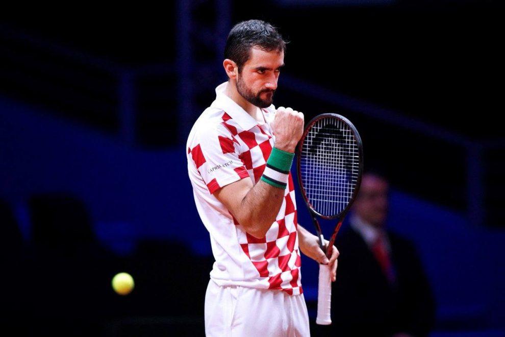 Cilic durante la final de la Copa Davis en 2018