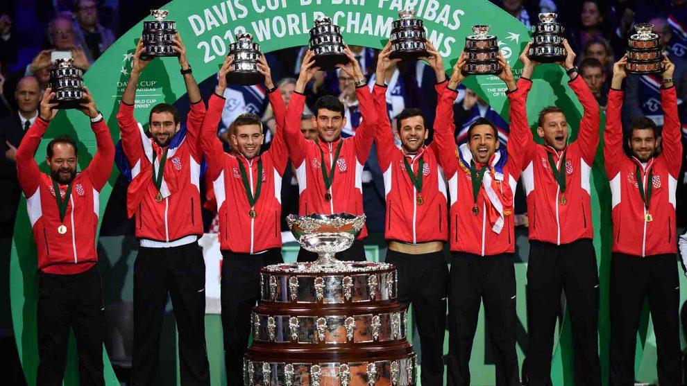 Croacia posa con el título de la última Copa Davis en 2018